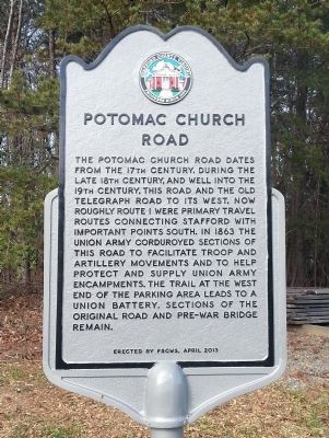 Potomac Church Road Marker image. Click for full size.