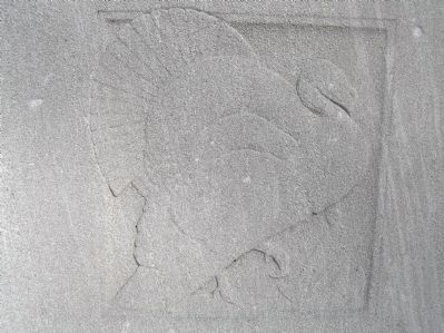 Relief carving of a turkey on Original Patentees Memorial Marker image. Click for full size.