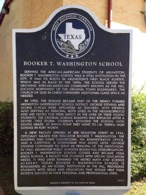Booker T. Washington School Texas Historical Marker image. Click for full size.