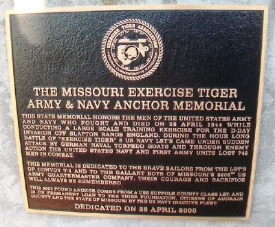 The Missouri Exercise Tiger Army & Navy Anchor Memorial Marker image. Click for full size.
