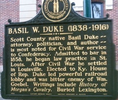 Basil W. Duke (1838-1916) Marker image. Click for full size.