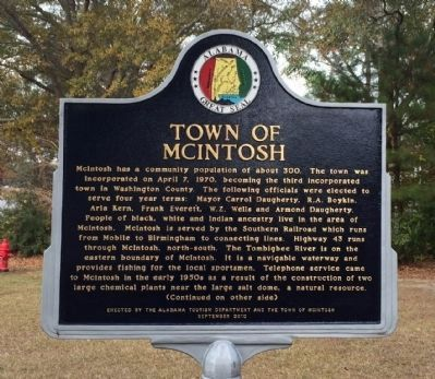 Town of McIntosh Marker (side 1) image. Click for full size.