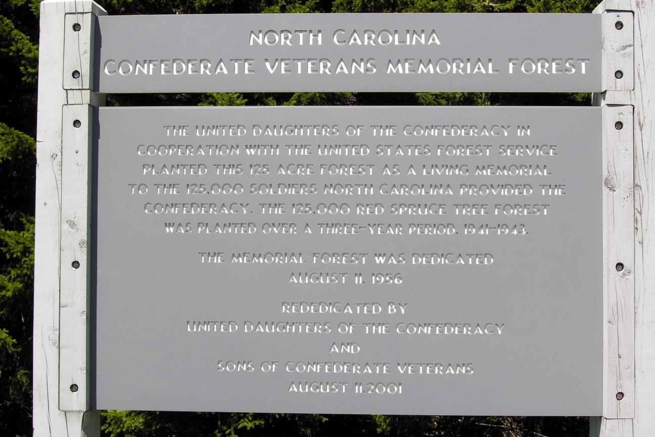 North Carolina Confederate Veterans Memorial Forest Marker