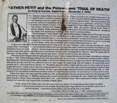 Father Petit and the Potawatomi 'Trail of Death' Marker image. Click for full size.