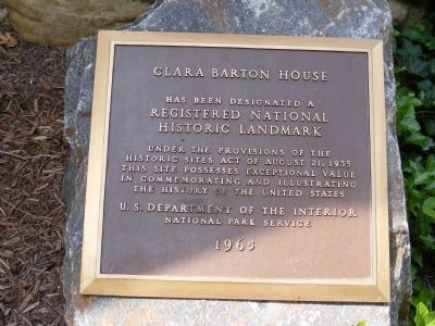 Clara Barton House Marker image. Click for full size.
