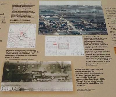 War, Rails, and Wells Marker: close-up of illustrations and map captions, center-middle image. Click for full size.