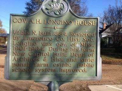 Gov. A.H. Longino House Marker image. Click for full size.