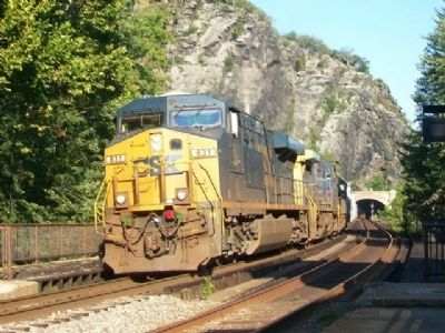Westbound CSX Freight Passing Former B&O Station image. Click for full size.