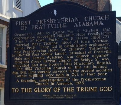First Presbyterian Church of Prattville, Alabama Marker image. Click for full size.