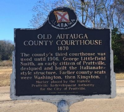 Old Autauga County Courthouse Marker image. Click for full size.