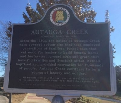 Autauga Creek Marker (reverse) image, Click for more information