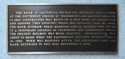 Bank of California Plaque image. Click for full size.