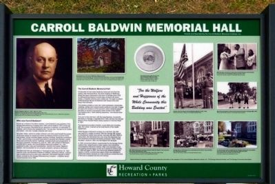The Carroll Baldwin Memorial Hall Marker image. Click for full size.