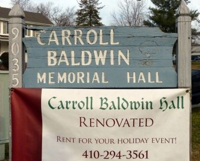 The Carroll Baldwin Memorial Hall Sign image. Click for full size.