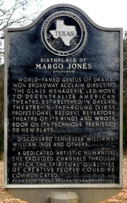 Birthplace of Margo Jones Marker image. Click for full size.