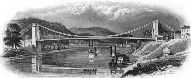 The Wheeling Suspension Bridge image. Click for full size.