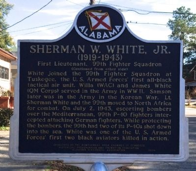 Sherman W. White, Jr. Marker (reverse) image. Click for full size.