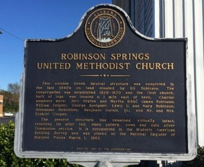Robinson Springs United Methodist Church Marker image. Click for full size.