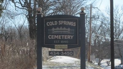 Cold Springs Cemetery sign, Cold Springs Road image. Click for full size.