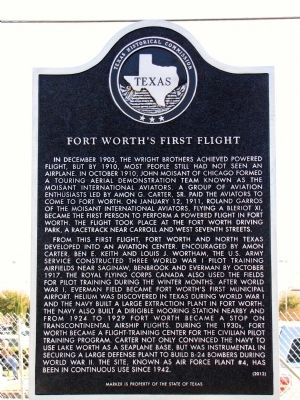 Fort Worth's First Flight Texas Historical Marker image. Click for full size.