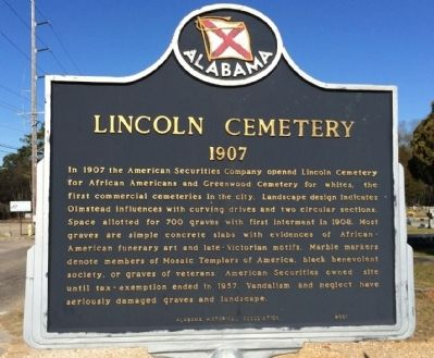 Lincoln Cemetery Marker image. Click for full size.