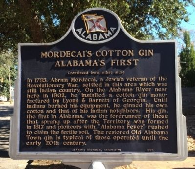 Mordecai's Cotton Gin Alabama's First Marker image. Click for full size.