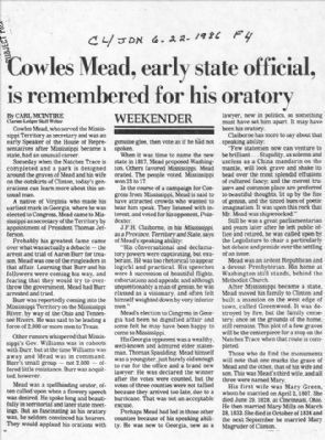 Cowles Mead Newspaper Article image. Click for full size.