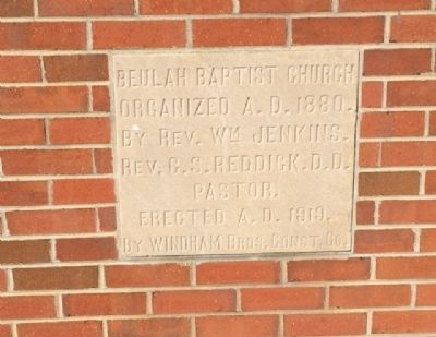 Beulah Baptist Church Cornerstone image. Click for full size.
