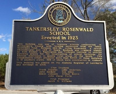 Tankersley Rosenwald School Marker image. Click for full size.