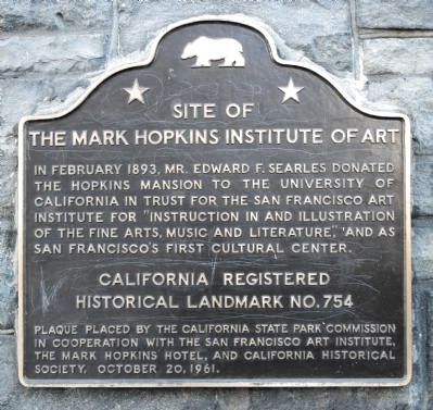 Site of the Mark Hopkins Institute of Art Marker image. Click for full size.