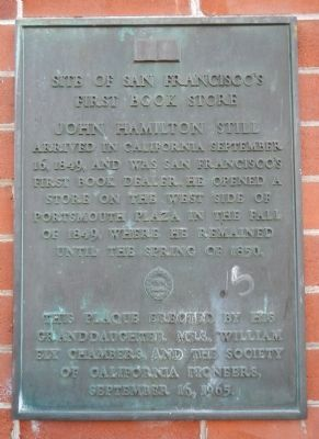 Site of San Francisco�s First Book Store Marker image. Click for full size.