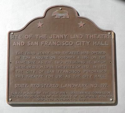 Site of the Jenny Lind Theatre and San Francisco City Hall Marker image. Click for full size.