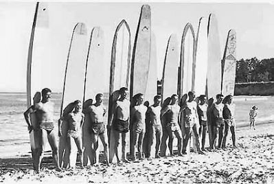 The Santa Cruz Surfing Club, circa 1941 image. Click for full size.