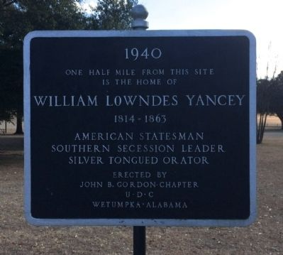 Williams Lowndes Yancey Marker image. Click for full size.