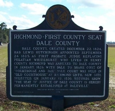 Richmond - First County Seat of Dale County Marker image. Click for full size.