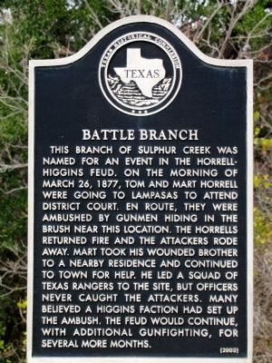 Battle Branch Texas Historical Marker image. Click for full size.