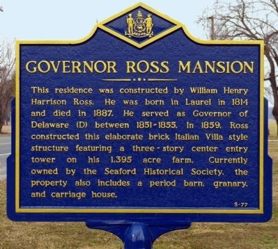 Governor Ross Mansion Marker image. Click for full size.