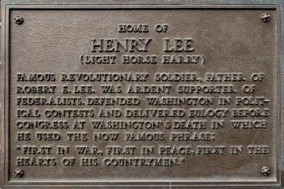 Home of Henry Lee Marker image. Click for full size.