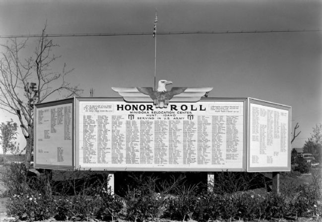Honor Roll Sign in Minidoka Relocation Center image. Click for full size.