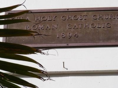 Kula Holy Ghost Church Roman Catholic 1894-sign above the doorway image. Click for full size.