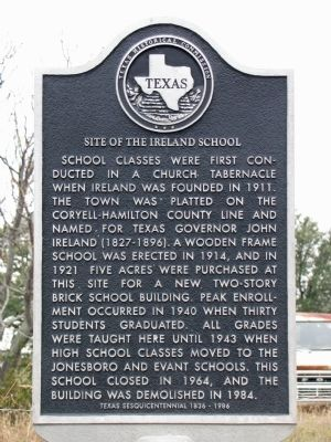 Site of the Ireland School Texas Historical Marker image. Click for full size.