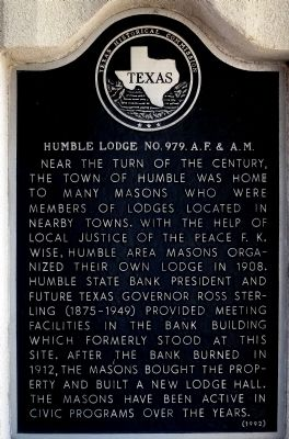 Humble Lodge No. 979, A.F. & A.M. Marker image. Click for full size.