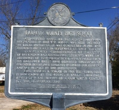 Barbour County High School Marker image. Click for full size.