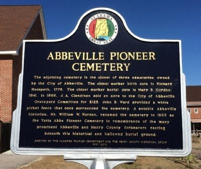 Abbeville Pioneer Cemetery Marker image. Click for full size.