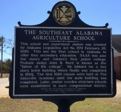 The Southeast Alabama Agricultural School Marker image. Click for full size.
