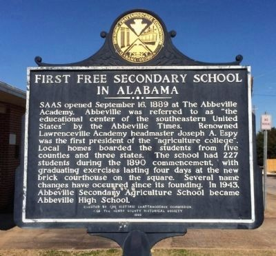 First Free Secondary School in Alabama Marker image. Click for full size.