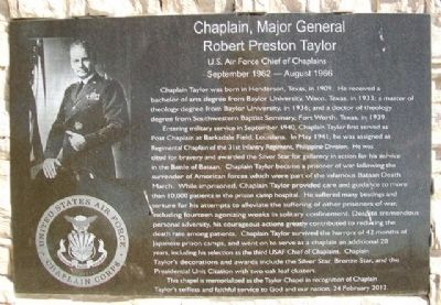 Chaplain, Major General Robert Preston Taylor Marker image. Click for full size.