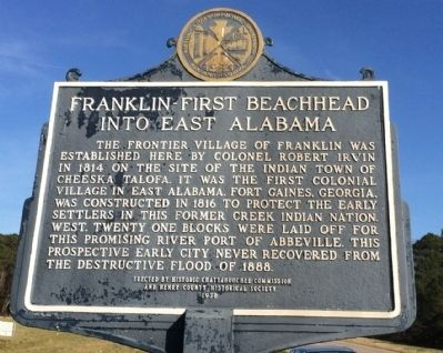 Franklin - First Beachhead into East Alabama Marker image. Click for full size.