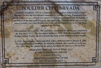 Boulder City, Nevada Marker image. Click for full size.