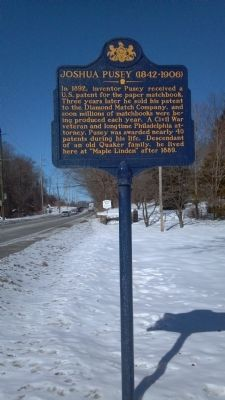 Joshua Pusey Marker - Roadside image. Click for full size.